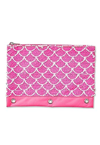 Justice for Girls Pink Mermaid Flip Sequin Binder Pencil Case Pouch