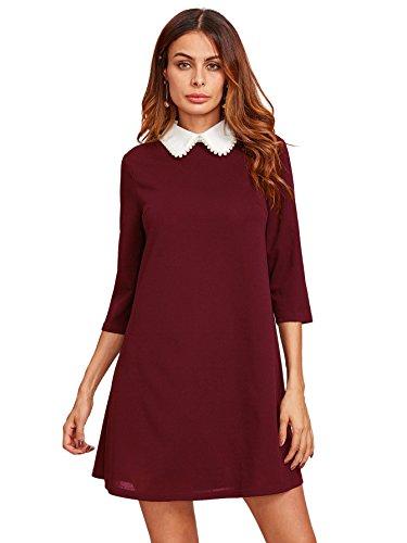 Floerns Women#039s Peter Pan Collar Long Sleeve Short Tunic Dress Burgundy M