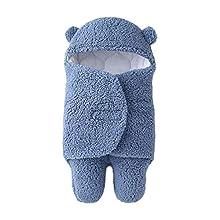 Bebé Manta Swaddle con Capucha Saco de Dormir con Pies Lana Manta de Abrigo Invierno Pijamas Recién Nacido Regalo Unisexo Niños Niñas 3-6 meses Azul
