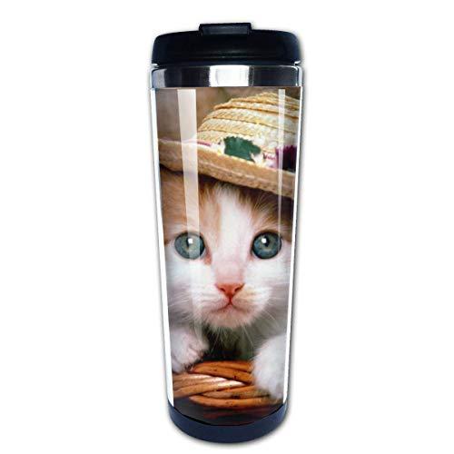 Cesta de animales gato flor sombrero gatito oso de peluche taza de viaje de café tazas de café con tapas taza de acero inoxidable para hombres mujeres
