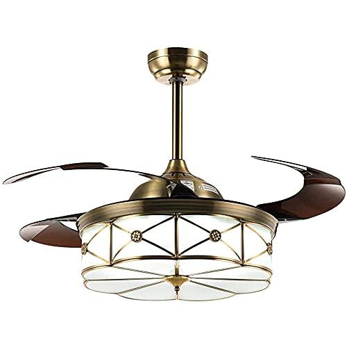 XGYUII 42' Promover la ventilación Natural Ventilador Invisible LED Dimmable (3 Colores) Araquilla remota retráctil retráctil Luces de Ventilador de Techo Plegable Fandelier