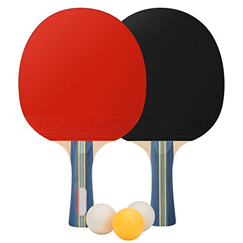 CNSSKJ Table Tennis Racket Soft Bouncy Sponge Ergonomic Grip Portable Storage Case Professional Ping Pong Paddle Set for All Levels Indoor Outdoor Games 2 Ping Pong Paddle 3 Ball