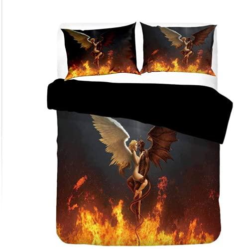 ZJJIAM Gothic Beautiful Devil Angel Dark Bed Linen 135 x 200.3D Print Anime Bed Linen Duvet Cover Double Duvet Cover (2.135 x 200 cm + 2 x 80 cm)