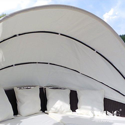 Swing & Harmonie Polyrattan Sonneninsel mit LED Beleuchtung + Solarmodul inklusive Abdeckcover Rattan Lounge Sunbed Liege Insel mit Regencover Sonnenliege Gartenliege (210cm, Grau) - 3