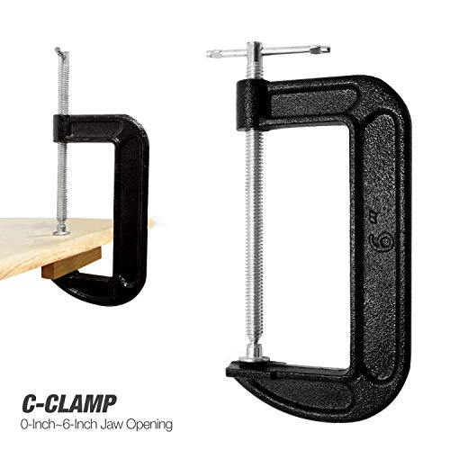 EACHPOLE Multipurpose C-Clamp w/Wide Jaw, Ball and Joint Swivel Pad, Sliding T-Bar Handle for Quick Fitting, APL2111