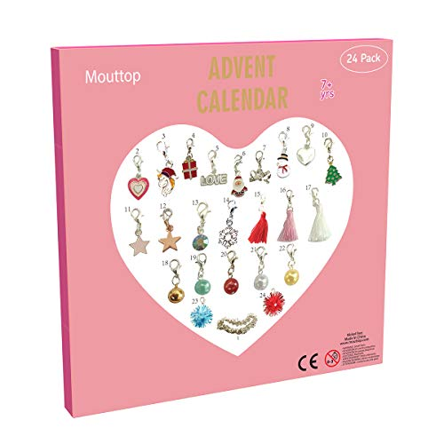 Mouttop Adventskalender,24 Charms DIY Halskette Set Fashion Jewelry Für Weihnachten Party 23 Charms mit 1 Silver Brcacelet