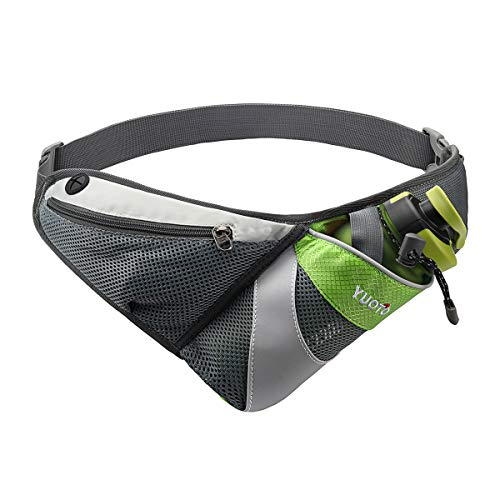 YUOTO Waist Pack with Water Bottle Holder for Running Walking Hiking Runners Hydration Belt fit Maximum 27oz and iPhone 8 Plus Men Women Green