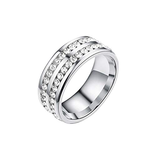 Earlyad Anillo magnético Anillo de Diamante de Doble Fila de Diamante de Enfoque reducido de Acero Titanio Compatible