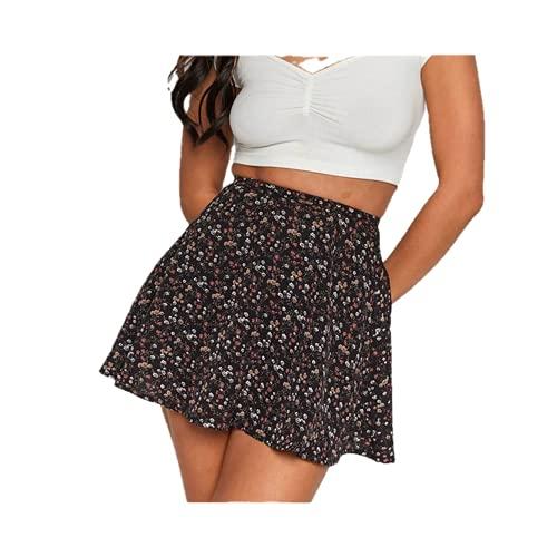 Faldas De Estilo De Las Mujeres De Moda Floral De Impresión De Cintura Alta Mini Falda