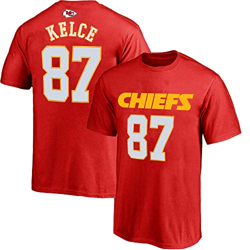 NFL Youth 8-20 Team Color Polyester Performance Mainliner Player Name and Number Jersey T-Shirt (Large 14/16, Travis Kelce Kansas City Chiefs Red)