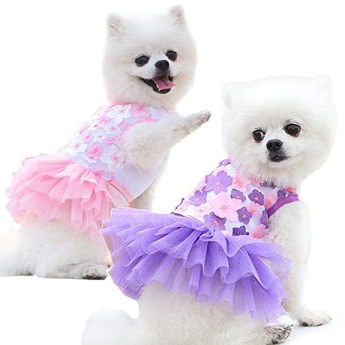sensiya 2 Pcs Dog Dresses for Small Dogs Girl Dog Wedding Dress Dogs Dog Summer Clothes Puppy Cat Outfit for Chihuahua Thunder French Bulldog Dachshund Shitzu (X-Small)