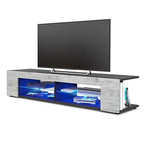 TV Board Lowboard Movie, Korpus in Schwarz matt/Fronten in Beton Oxid Optik inkl. LED Beleuchtung in Blau