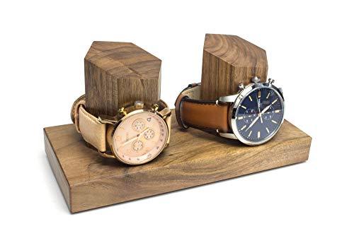 Uhrenaufsteller aus Holz, Nussbaum, universeller und hochwertiger Uhrendisplay, handgemacht in Deutschland (ohne Gravur, Nussbaum)