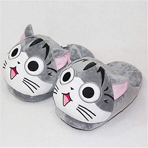 Dirgee Unisex Felpa Zapatillas Japonesa Serie de televisión de Dibujos Animados Calientes de Chi Sweet Home Invierno de los Deslizadores de Interior Precioso Gato Zapatos caseros (Cat