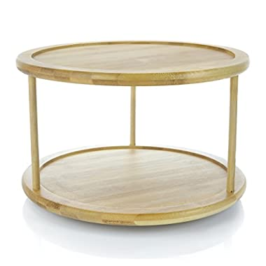 Adorn Home 2-Tier Premium Bamboo Lazy Susan | Lazy Susan Turntable | Lazy Susan Spice Rack | Kitchen Cabinet Organizer | Vanity Makeup Organizer | 12  Turntable | (actual size 11.8 inches diameter)