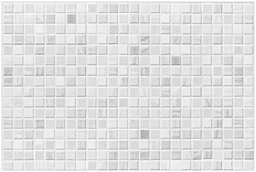 Wallario Glasbild Fliesen im Bad weiß-grau - 60 x 90 cm in Premium-Qualität: Brillante Farben, freischwebende Optik