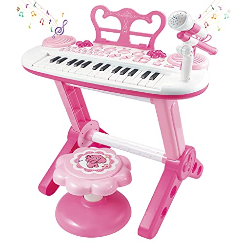 Toddler Piano Toy Keyboard for Kids, 31-Key Electronic Musical Instrument with Microphone, Pink Multifunctional Music&Sound, Educational First Birthday Gift Toys for 3 4 5 6 7 Year Old Girls Boys