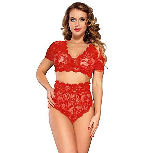 yipeng0213 Europäische und amerikanische Plus Größe Ultra-schlanke sexy Versuchung Spitze Spitze BH hohe Taille Höschen-red_M