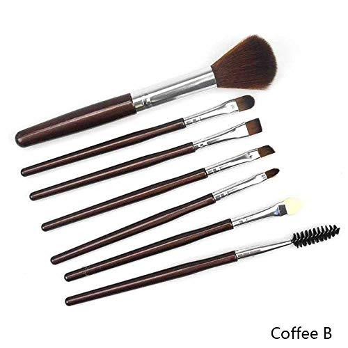 MEISINI Pinceaux de maquillage Set Fondation en bois cosmétique sourcils fard à paupières pinceau Pinceaux de maquillage ensembles outils, café B
