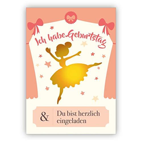 Schattige ballerina sterretjes uitnodigingskaart voor kinderverjaardag met gekleurde binnendruk om in te vullen - meisje party uitnodiging voor kleuterschool en schoolvrienden • Wenskaarten in set met enveloppen om zich in een mooie ronde te maken 20 Einladungen