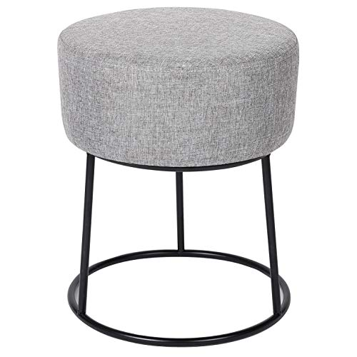 BIRDROCK HOME Grey Linen Foot Stool Ottoman – Soft Compact Round Padded Seat - Living Room, Bedroom and Kids Room Chair – Black Metal Legs Upholstered Decorative Furniture Rest – Vanity Seat