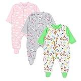 TupTam Baby Mädchen Schlafstrampler mit Fuß 3er Pack, Farbe: Farbenmix 4, Größe: 62