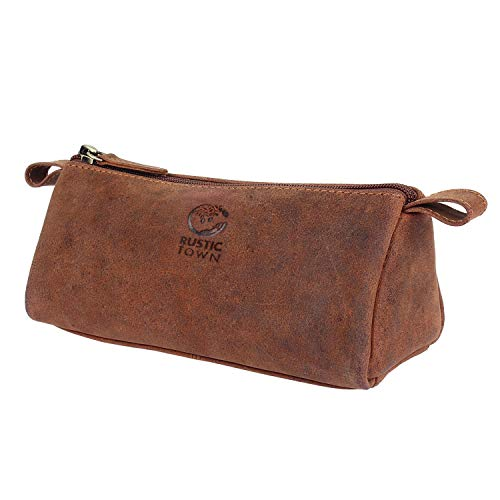 Rustic Town Leather Pencil Case - Zippered Pen Pouch for School, Work & Office (Brown)