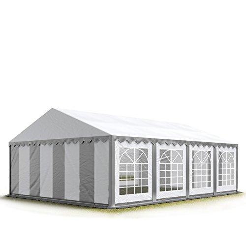 TOOLPORT Party-Zelt Festzelt 5x8 m Garten-Pavillon -Zelt ca. 500g/m² PVC Plane in grau-weiß Wasserdicht