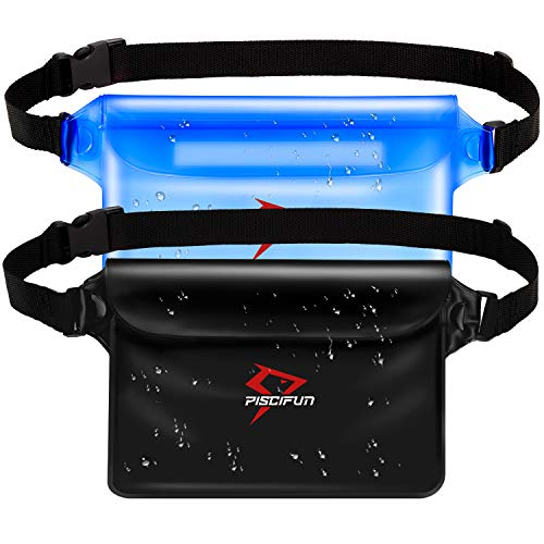 Piscifun Waterproof Pouch with Waist Strap, IPX8 Certified Waterproof Waist Bag, Safety to Keep Your Phone and Valuables - Great as a Waterproof Phone Case or Waterproof Wallet Jet Black & Blue