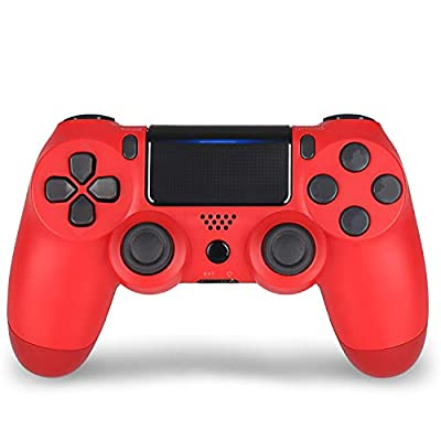Red Wireless Controller for PS4- YU33 red Remote Joystick for Sony Playstation 4 Control with Dualshock and Charging Cable(Red Wireless Controller,2020 New Model by YU33