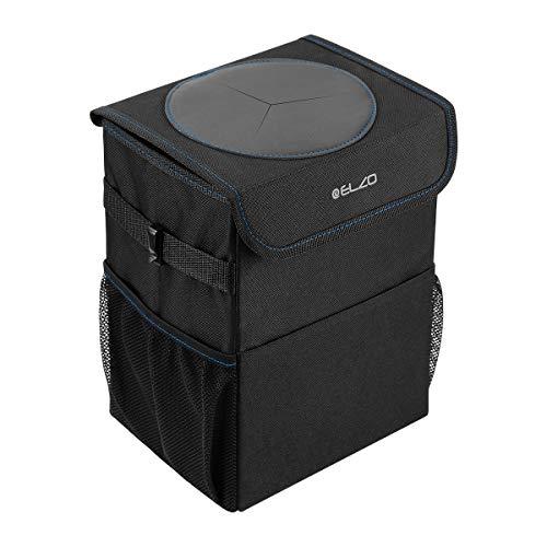 ELZO Auto Mülleimer mit Deckel, Wasserdicht Auslaufsicher Abfalltasche Auto, Zusammenfaltbare Organizer Abfall-Tasche für Unterwegs für Auto/Geländewagen/LKW/Minivan (Schwarz + Blau)