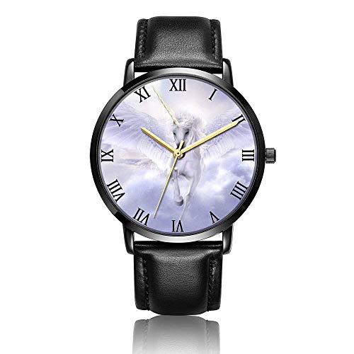 Reloj de Pulsera de Unicornio con alas voladoras Personalizadas, Reloj de Pulsera de Cuero Negro de Moda de Cuarzo analógico Unisex para niños y niñas