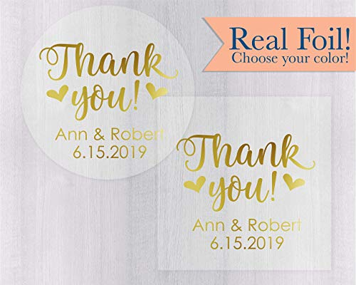 Thank you Wedding Favor Stickers, Clear Personalized Foiled Stickers, Thank You Labels, Envelope Seals (#265-CF)