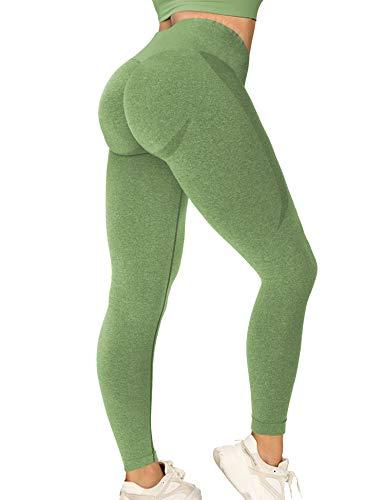 TSUTAYA Seamless Leggings High Waisted Women's Yoga Pants Workout Stretchy Vital Activewear Tummy Control Leggings Light Green M