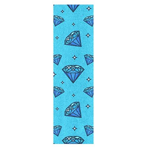 Linda Piedra De Diamante Azul Monopatín Papel de Lija Antideslizante Hoja Cinta de Agarre Lijas para Patineta Scooter Etiquetas engomadas (84 x 23 cm)