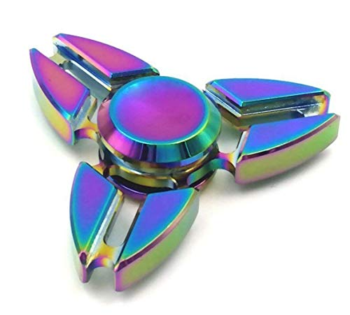 JUNAN Metal Rainbow Fidget Spinner Toys, Hand Spinners Toy Can Spin 1-3 Min Stress Reducer High Speed Bearing for Adult Children,Office Desk Gadget,Outdoor