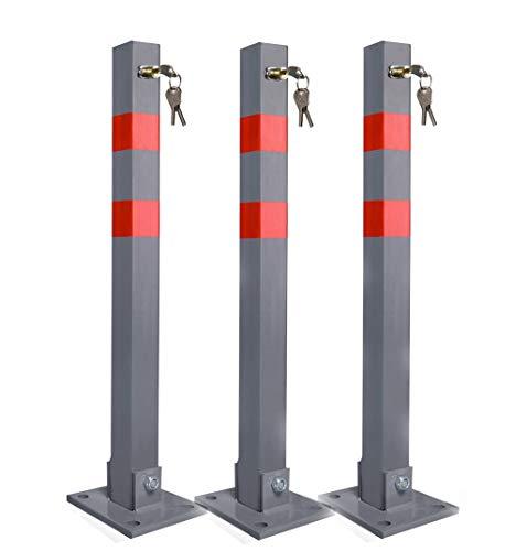 Aufun Klappbare Parkpfosten Sperrpfosten klappbar Standfuß Parkplatzsperre Poller Pfosten Signalstreifen Parkplatz Sperre mit 3 Schlüssel - 3 Stück