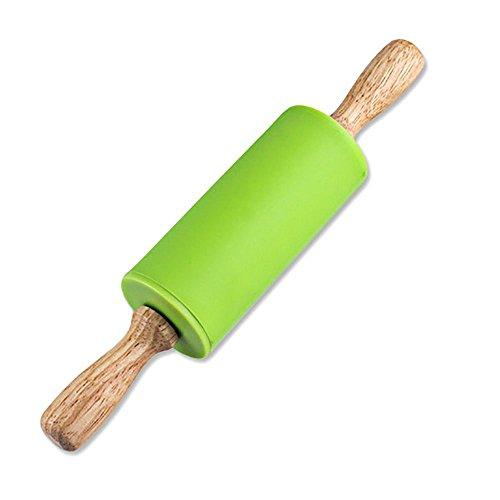 Mmrm Silikon-Nudelholz für Kinder, Antihaft-Holzgriff, 22 cm (grün)