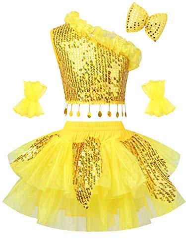 IEFIEL Disfraz Bailarina Niña Vestido Lentejuelas Tutú Princesa Maillot Ballet Niña de Fiesta Vestido de Danza Patinnaje Artistico Ropa de Baile Actuación Competición Amarillo A 12 años