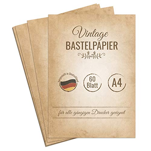60 Blatt Vintage Briefpapier, DIN A4, beidseitig bedruckt, extra starkes 120g Papier für Urkunden, Einladungen, Geburtstag, Hochzeit, antikes Bastelpapier, Retro Papier