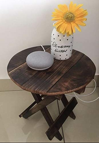 Hindoro Mango Wood Coffee and Small Centre Table (Brown) (12x12 Round)