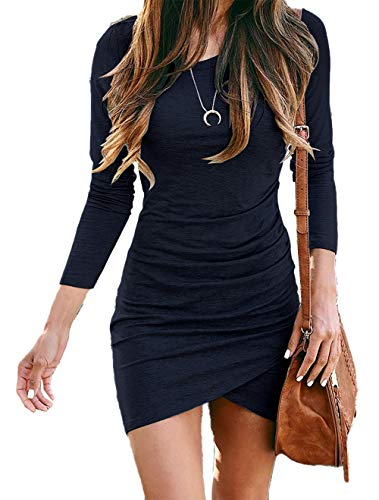 BTFBM Women Fashion Ruched Elegant Bodycon Long Sleeve Wrap Front Solid Color Casual Basic Fitted Short Dress (Navy, Large)
