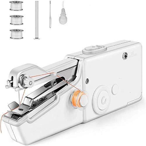 Mini Máquina de Coser, Máquina de Coser Eléctrica Portátil de Mano Adecuada para Uso Doméstico, Viajes Cortos, Ropa de Niños Uso Inalámbrico de Tela de Reparación Rápida Bricolaje Casero Fácil