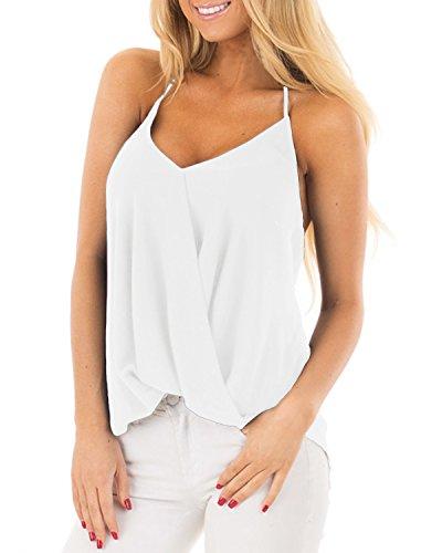 ACHIOOWA Mujer Camiseta Sin Manga Cuello V Blusa De Tirantes Sin Hombros Tanque Espalda Descubierta Escote Camisola Casual Chaleco Elegante Playa Beachwear Sundress Blanco 2XL