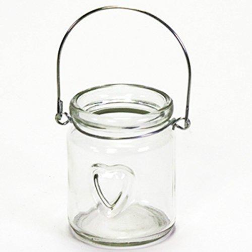 Annastore 12 x Windlichter aus Glas mit Herz und Henkel klar- kleine Teelichtgläser zum Hängen und Stellen - Teelichthalter Hängeteelichhalter