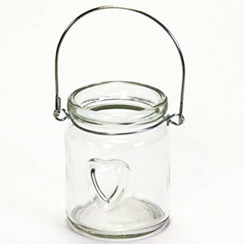 Annastore 12 x Windlichter aus Glas mit Herz und Henkel klar- kleine Teelichtgläser zum Hängen und...