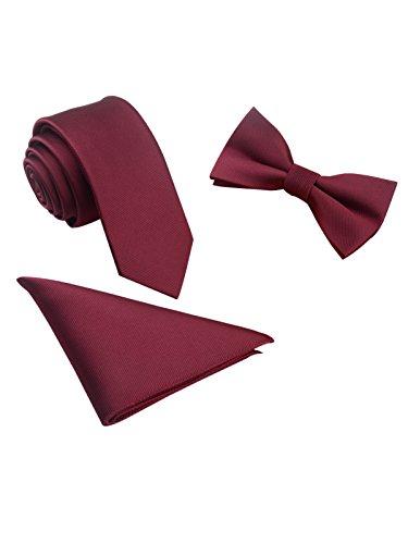 Hombre Pajarita Clásica 6*12 cm & Corbata Estrecha 6 cm & Pañuelo de Bolsillo 3 en 1 Set - Liso Borgoña Rojo