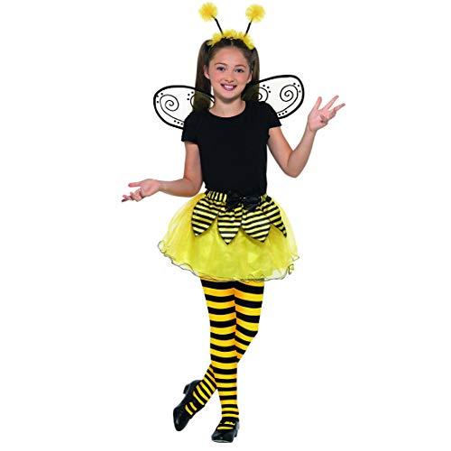 Kit Disfraz de abejorro / Amarillo-Negro en Talla M, 7 - 9 años, 130 - 143 cm / Set para Traje de abejita con alas, faldita y alitas / Apropiado para carnavales Infantiles y Festivales