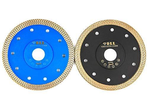 2x Profi Diamant Trennscheiben X-CUT-Turbo + R-TYPE Fliesenscheibe, extra dünn, 125 mm für Handmaschinen, zum trennen und schneiden von Naturstein, Feinsteinzeug, Fliesen, Keramik, Dachziegel