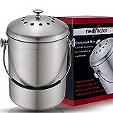 RED FACTOR Deluxe Compostiera da Cucina Inodore in Acciaio Inox - 6 Filtri di Ricambio in Carbone Attivo Inclusi (5 Litri, Inox Satinato)